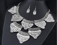 Wholesale European Style Fish Scale Shaped Earrings Necklace Suit Gold Cheapest Necklace FashionableYW16072012