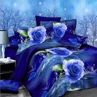 Wholesale Floral Bedding comforter set D Printed Queen Size Duvet Quilt Cover Blue Color