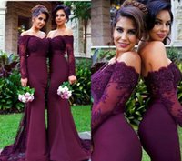 wine grapes - New Arrival Off the Shoulder Wine Red Trumpet Mermaid Bridesmaid Dress Elegant Long Sleeves Beaded Lace Appliqued Evening Gowns