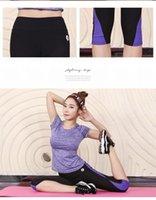 achat en gros de costumes de sport de yoga-Version style coréen mince serrés couture yoga costumes pantalons mèche T-shirt femme Vêtements d'entraînement du sport en cours d'exécution (chemise + pantalon)