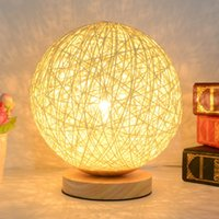 Wholesale v Creative Rattan Ball design table lamp Diameter cm Takraw night light for Bedroom Bedside living room EU plug