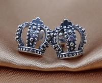Pendentifs couronne de la Couronne Impériale 100% Boucles d'oreilles en argent sterling 925 avec cz clairs pour la pandora Bijoux en breloques de mode en gros 1pair / lot