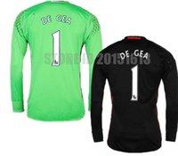 2017 Tailandia manga larga negro Manchester Goleador Fútbol Camisetas 1 David De Gea Romero Green Goalie Fútbol conjuntos Camisas Kits