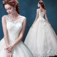 Wholesale 2016 lace White Ivory Wedding Dresses for brides plus size maxi formal with train size