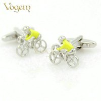 Wholesale Vogem Yellow Characters White Steel Plated French Style Men Fashion Cufflink