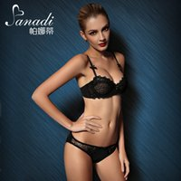 Wholesale Luxury Thin section Perspective lace brand sexy gather push up bra set cozy lace flower women underwear set bra and panties