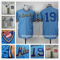 milwaukee - Robin Yount Jersey Flexbase Retro Stitched Milwaukee Brewers Throwback Jerseys White Blue Cream