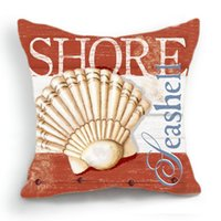 beach throw pillows - 45CM Cushion Cover Pillow Case Throw Home Sofa Decorative Orange Sea Beach Shell