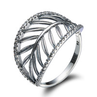 Wholesale 925 Sterling Silver Rings Finger Openwork Leaves Zircon For Women Ring Wedding Party Birthday Timeless Elegant Fashion Jewelry