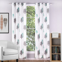 Wholesale C21363 Modern Style Sheer Curtains For Living Room Printed Tree Curtains for Kids Kitchen Curtains Home Decorative Piece Freeshipping
