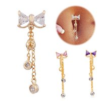 Wholesale Reverse Belly Button Ring Dangle Body Navel Bar Clear Bow Jewelry Piercing