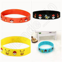 Wholesale Poke Bracelets Pocket Monster colors silicone wristband Soft Silicone Wrist Straps Kids Children Anime Gifts OOA370
