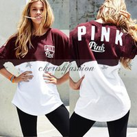 b sweatshirt - Fedex DHL Free Fashion Casual VS pink letter print autumn sweatshirt female patchwork slim loose women hoodies sweatshirts pullover Z509 B