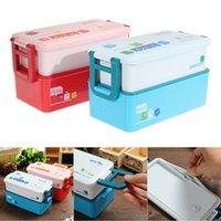 Wholesale layer Bento Lunch Box for Kids Food Container Food Tableware ML lunchbox Red Blue in LD789
