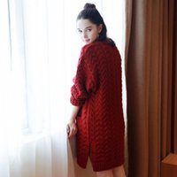 Wholesale Temperament Lady Easing Of New Fund Of Autumn Winters In Europe And The United States Long Pure Color Sweater Cardigan Coat Female