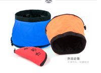 Wholesale Foldable Oxford cloth waterproof pets bowl puppy outdoor traveling camping food feeder dogs cats water bowl Gerichte