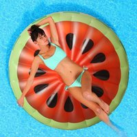 Wholesale 150CM Inflatable Red Watermelon Pool Floats Water Rafts Air Mattress Water Sports Inflatable Raft Leisure Floating Bed PVC Swimming Ring