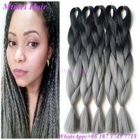 Wholesale Black Gray Braiding Hair Ombre Grey kanekalon jumbo braiding hair Two Tone Synthetic Jumbo Braid African Hair Braiding