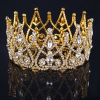 Wholesale Royal Gold Plated Rhinestone Crown Tiaras Queen Princess Hair Jewelry Wedding Bridal Jewelry For Women In Stock