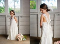 Niño V-cuello Verano Boho Flower Girls Vestidos Niñas de longitud de piso Vintage Ivory Full Lace Flower Girl vestidos adecuados para la boda de playa