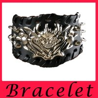 Wholesale New Europe And The United States Punk Alloy Leading Decorative Bracelet Rivet Bracelet Men s Leather Bracelet
