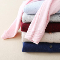 Wholesale The United States is pure V collar winter cashmere cardigan female long sleeved sweater knit wool single breasted jacket slim