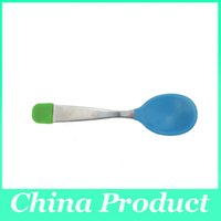 baby health set - 2016 Set Baby Feeding Three Piece Spoon Baby Feeding Spoon Safety and Health Kids silicone spoon
