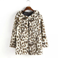 Wholesale Europe leopard faux fur cropped women coats fashion loose cardigans female casual work wear outerwears plus AF430