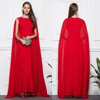 arabic shawl style - Mermaid Dubai Muslim Evening Dresses Long Shawl Cape Red Chiffon Formal Arabic Style Prom Party Gowns Celebrity Dress robe de soiree longue