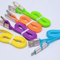 Wholesale Noodel High quality Micro USB Aluminum m in Sync Data Charger Cable for Android Apple iPhone s s Plus Ipad Mini Shinning Colors