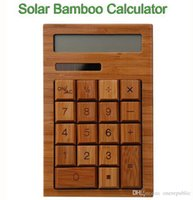 bamboo constructions - 50pc Bamboo Solar Calculator Anti static digitals Solar power cell no batteries required Fashion Full bamboo construction Z00362