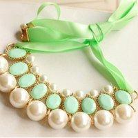 Wholesale New Fashion Women Lady Luxury Sweet Pearl Ribbon Bib Choker Statement Collar Necklace Colors QJ