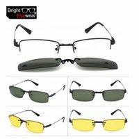 al por mayor anteojos noche del día-3 en 1 hombres medio-borde gafas de marco para los hombres gafas de prescripción marco de gafas con día de la noche gafas de sol anti-reflejo Clip-on
