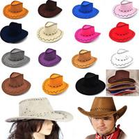 Wholesale Cowboy Hat Women Men Children Suede Look Wild West Fancy Dress Mens Ladys Cowgirl Unisex Adult Children Cowboy hat Visor Hats WX H54