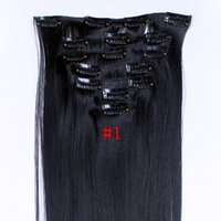 Wholesale Good Quality set Synthetic Clip In Hair Extensions Heat Resistant Fiber Synthetic Hair Extension