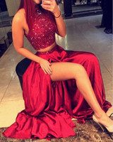 apple lettings - Sparkling Two Pieces Party Dresses High Neck Beads Red High Side Split Prom Dresses Let Slits Taffeta Homecoming Dress Cocktail Gowns