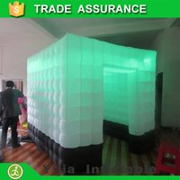 Wholesale new design LED strip on top inflatable photo booth with black cloth on bottom