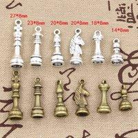 Wholesale Cents Charms chess Hollow Antique charms Zinc alloy pendant fit Vintage Tibetan Silver Bronze DIY bracelet necklace