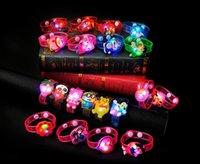 Wholesale Cheap Christmas Watches - Cartoon Luminous Wrist Band LED Watch Flash Wrist Bracelet Light Luminous Hand Ring Children Toys Monkey Bear Cheap Christmas Gift Toys