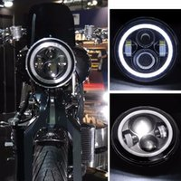 Wholesale Harley H4 H13 Harness quot Motorcycle Projector Daymaker LED Headlight With Angel Light For Davidson Harley FLSTC FLSTF FLSTFB