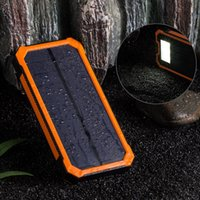 Wholesale Orange mah Solar Panel Charger with LED Portable Phone Charger Backup Power Pack Dual USB Port External
