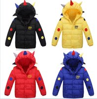 Wholesale Cartoon dinosaur boys thick long sleeved warm jacket Children s cotton clothing years old baby winter casual clothes E440