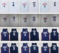 Wholesale 2016 USA Dream Team Kevin Durant Kyrie Irving Carmelo Anthony Klay Thompson Paul George Kyle Lowry jersey