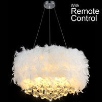 Wholesale Remoter controlled bedroom foyer led bulb optional white modern ceiling hanging pendant light crystal feather pendant lamp