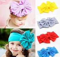 big band style - New Baby Girls Bow Headbands Europe Style big wide bowknot hair band headwear colors Children Hair Accessories Kids Headbands Hairband