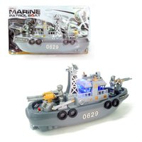 Wholesale Children toys Electric patrol boat plastic Flashlight music patrol boat