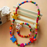 Cheap Brand New 12 sets Kids Cute Cartoon Natural Wood Beads Necklaces and Bracelets Party Gift wholesale lots