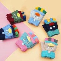 Wholesale Newly Lovely Cartoon Children Gloves Stitching Color Kids Flip Half Finger Gloves Warm Soft Mittens Random Color VF0056