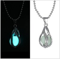 Wholesale European Atlantis Glow In Dark Locket Luminous Statement Chocker Necklace Pierced Hollow Water Drop Glow Ball Pendant