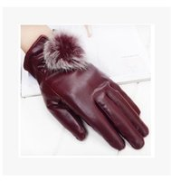 Wholesale New Fashion Women Lady Autumn Winter Top Quality PU Leather Gloves Warm Rabbit Fur Mittens Outdoor Windproof Full Fingers Glove